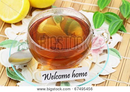 Welcome home card with cup of tea