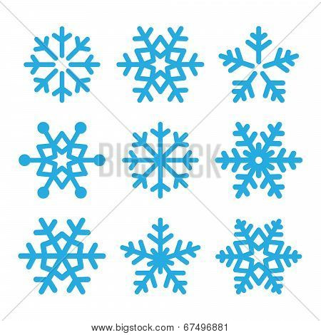 Snowflakes blue vector icons set poster