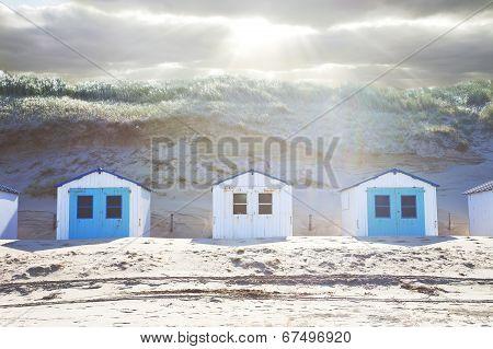 Typical Dutch Beach Houses In A Row