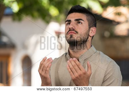 Muslim Man Praying At Mosque