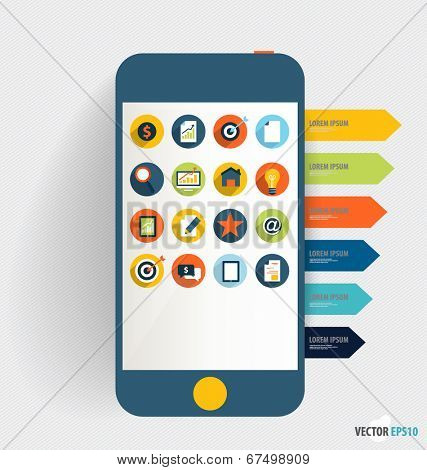 Touchscreen device with application icon and note papers. Vector illustration.