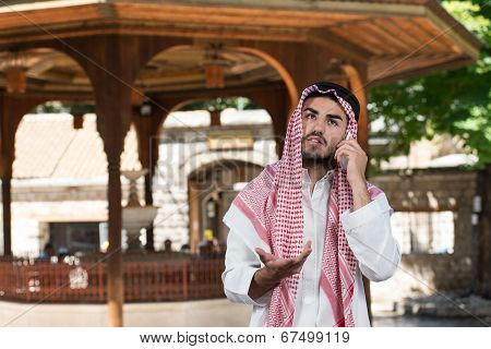 Arab Saudi Emirates Man Using A Smart Phone