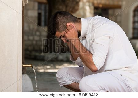 Islamic Religious Rite Ceremony Of Ablution Ears Washing