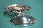 picture of communion-cup  - Communion elements on old table with shallow depth of field on cross - JPG