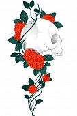 stock photo of morbid  - Illustration of a Tattoo Design Featuring a Skull with Vines and Roses Wrapped Around it - JPG