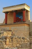 foto of minotaur  - Ancient stone ruins of Knossos palace Crete - JPG