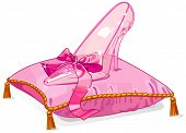 Crystal Cinderella slipper on pink pillow. Raster version.   poster