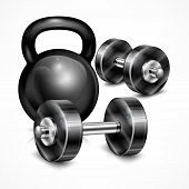 stock photo of kettling  - Metallic kettle bell and two dumbbells on white vector illustration - JPG
