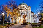 picture of serbia  - Saint Sava temple in autumn Belgrade Serbia - JPG