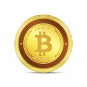 pic of bit coin  - Bit Coin Currency Sign Gold Coin Vector Icon - JPG