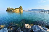 image of cameos  - Old wooden bridge to Cameo island in Zakynthos island  - JPG