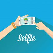 stock photo of selfie  - Taking Selfie Photo on Smart Phone concept - JPG