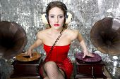 Постер, плакат: Beautful Disco Dj With Gramophones