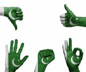 pic of pakistani flag  - A set of hands with different gestures wrapped in the flag of Pakistan - JPG