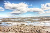 image of arctic landscape  - Summer arctic landscape with lake and mountains - JPG