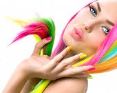 pic of colore  - Beauty Girl Portrait with Colorful Makeup - JPG