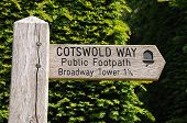 image of broadway  - Wooden Cotswold Way signpost giving directions to Broadway Tower Broadway Cotswolds Worcestershire England UK Western Europe - JPG