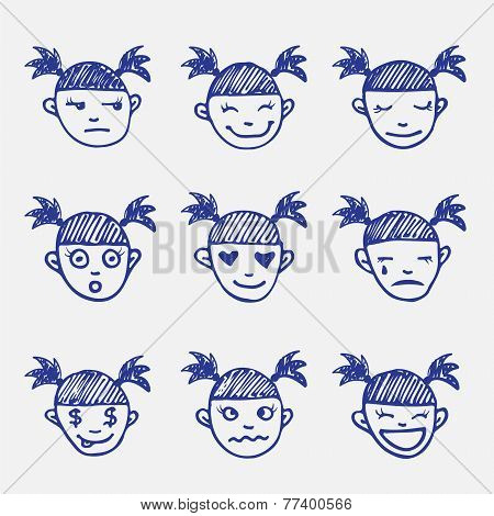 Vector hand drawn doodle emoticons set. Girl's head emotions sketch