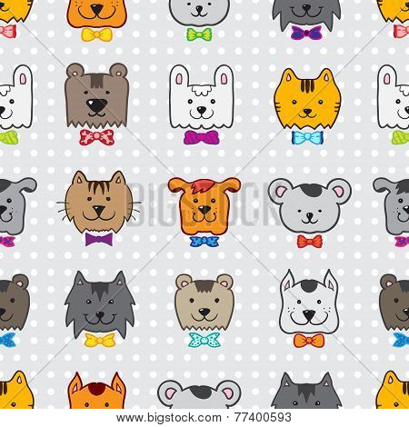 Vector hand drawn doodle cartoon animal heads seamless pattern