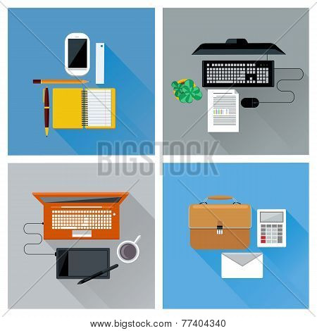 Workplace with digital devices top view icon set