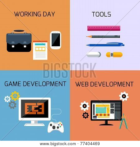 Game, web development and business tools icon set