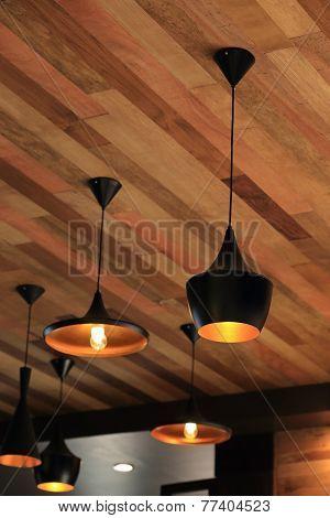 Black Pendant Lamp On Ceiling Wood Wall