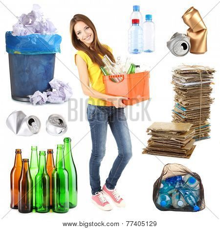 Recycling concept, isolated on white