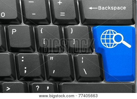 Close-up of Computer keyboard,  with blue Search key
