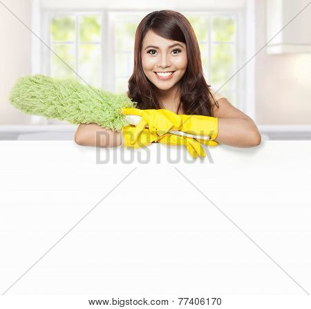 Cleaning Service Woman Presenting Blank Board