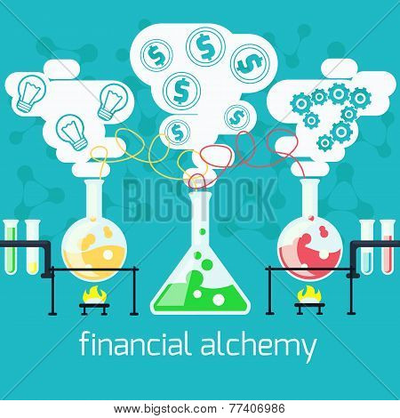 Alchemy generating money, ideas in laboratory