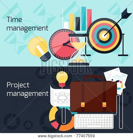 Project and time management flat design concept