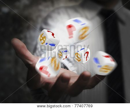 Group Of Dices Emitted From Businessman Hand
