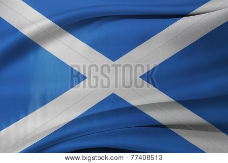 Closeup of silky Scottish flag
