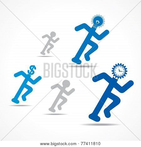 Running man with time,money and idea concept stock vector