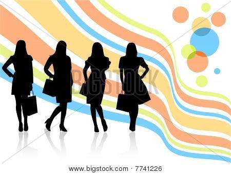 Conceptual sale illustration with women shapes