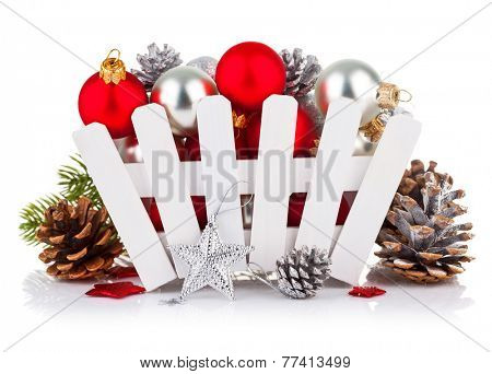Christmas balls with pinecone and branch fir. Isolated on white background