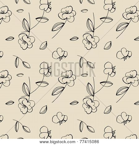 Seamless cute flower pattern.