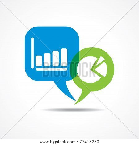 business graph and chart in message bubble stock vector
