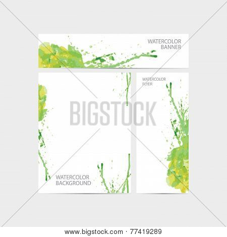 Vector Visual Corporate Identity With Paint Watercolor Stain