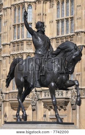 Richard The Lionheart Statue Outside The Houses Of Parliament In London