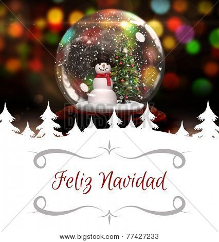 Christmas greeting card against christmas tree and snowman in snow globe