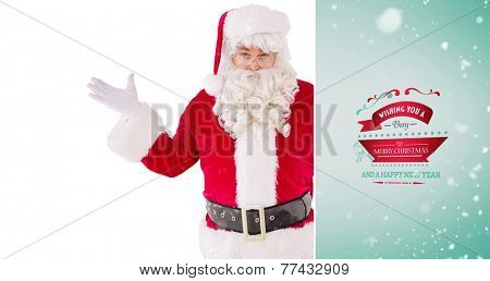 Portrait of perplexed santa against green vignette