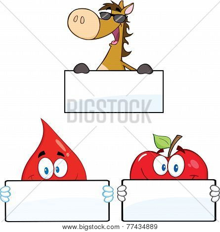 3 Cartoon Characters Holding A Blank Sign. Collection Set