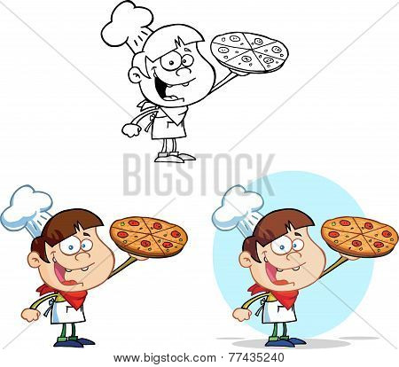 Boy Chef Holding A Pizza. Collection Set