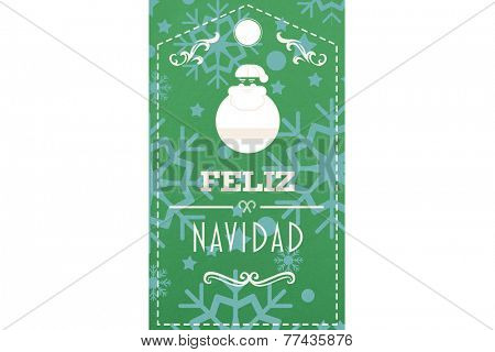 Feliz navidad banner against snowflake wallpaper pattern