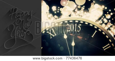Classy new year greeting against black and gold new year graphic