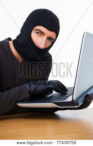 Burglar typing on laptop and looking at camera on white background