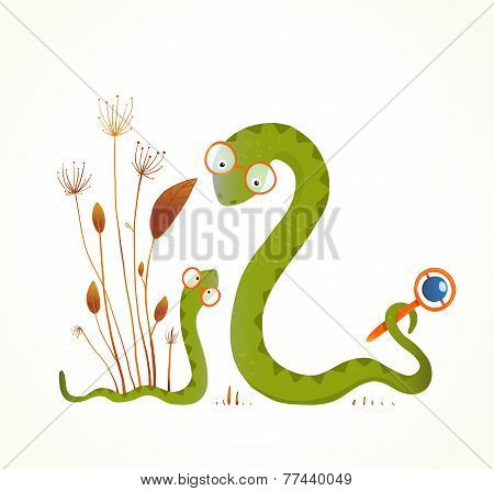 Mother Snail with Rattle and Baby Childish Animal Illustration