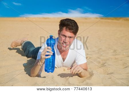 Caucasian Man With Water In Desert
