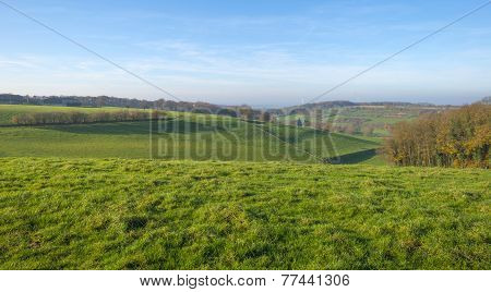 Field in a hilly landscape at fall